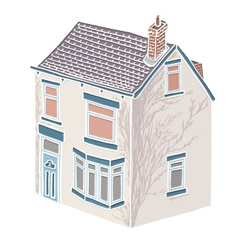 Little VIllage House - hand-drawn and digitally coloured